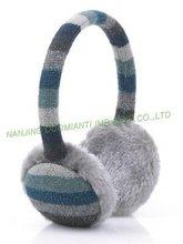 fahion stripe ear muff w/fake fur