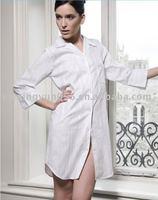 Cotton White Stripe Graphic Women Nightshirt