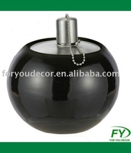 Ceramic oil lamp with stainless steel tank