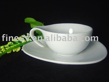 porcelain cappuccino cup and saucer with a special ear