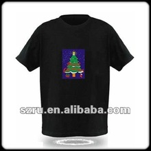 2012 best seller el sounded-activated 100%cotton t-shirt for christmas gift/halloween