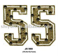 hot fix glitter and convex metal letters design