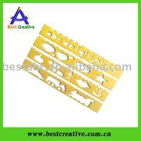Kids yellow Plastic Stencil Ruler