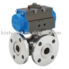 Pneumatic Three Way ball valve