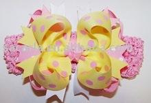 pink and yellow crochet headband