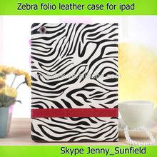 anti slip Zebra folio leather case for ipad air 2 3 4 ,for ipad air case printing