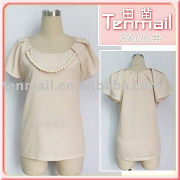 2011 Lady manga curta moda blusa de seda