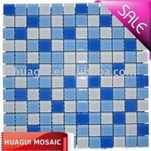 Fresh blue mix white bathroom/swimming pool crystal glass mosaic tiles