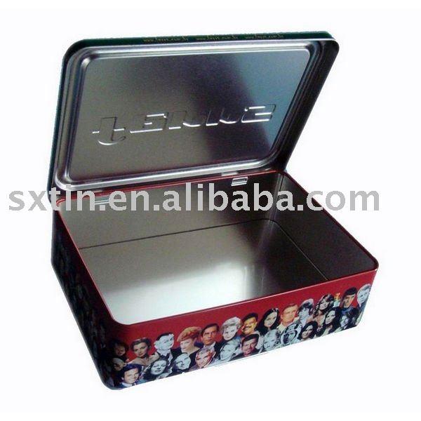 Rectangle tin tea box with hinge