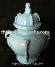 Antique celadon blue porcelain lion jar WRYNC10