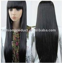 2014 long black straight kanekalon heat resistant synthetic fiber wigs