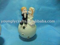 PORCELAIN WEDDING COUPLE DOLL WITH LED LIGHT