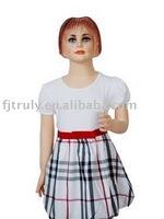 White and plaid girls short sleeve dress