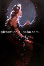 handmade western girl oil painting