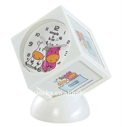 Decorative cube table clock with photo frame WL6104-7