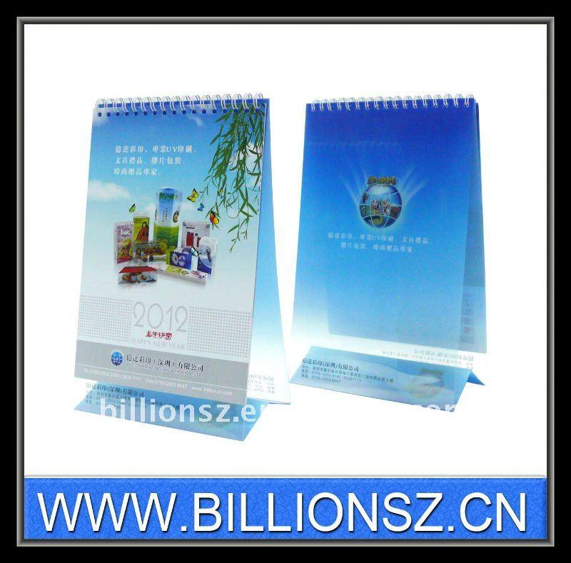 Especial printined calendario de escritorio de plástico 2012