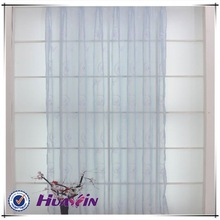 100%polyester embroidery sheer curtain with laceembroidery curtainwhite Logo embroidered curtain pervious to light