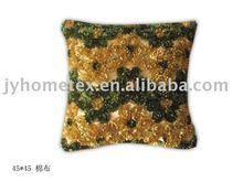 taffeta applique embroidered cushion