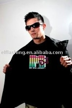 Sound Activated M DJ shape LED Light EL Music T-Shirt