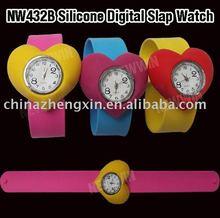 Heart shape silicone slap watch