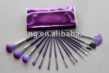 pro 16 pcs purple super nylon hair wood handle makeup brushes set & bag
