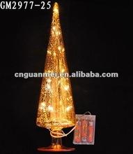 Pagoda-shaped glass christmas tree with LED light