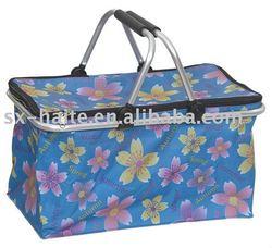 double pole environmental waterproof folding shopping basket/picnic basket/vehicle-mounted cooler bag