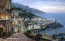 Romantic Town Landscape Oil Painting On Canvas In Sea Side