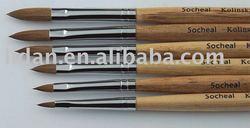 Oval Nail Acrylic brush Kolinsky/wooden polishing brush