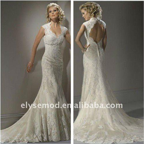 Lace Decorative Beading Keyhole Back Long Christmas Wedding Dresses 8007