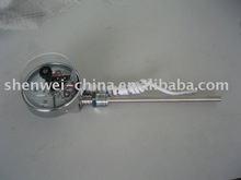 Bimetal thermometer with electrical contact
