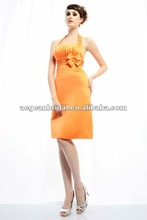 Style RZ-bd075 2012 wholesale halter pleated knee length backless taffeta orange bridesmaid dresses