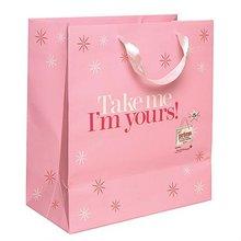 pink color printing shopping bag