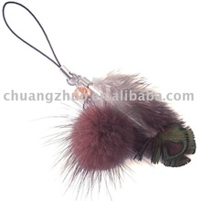 Fashion Colorful Rooster Feather Phone Chain