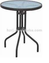 Folding garden round steel glass table