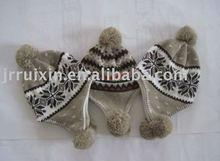 Jacquard knitted winter beanie,earfap hat