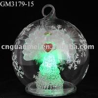 2013 hot sale christmas glass hanging ball with LED light