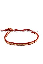 Single red leather wrap with gold vermeil bracelet