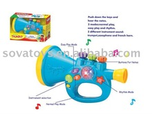 Multi-function cartoon plastic toy trumpets for kids