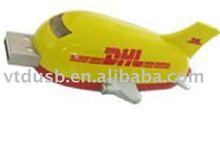 Aircraft plane usb flash drive, pantone color logo usb memory, white usb with print logo to pantone PMS color