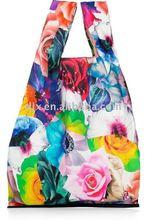 flower printing nylon folding shopping bag