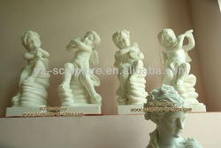 Outdoor White Stone Children Statues STU-B013