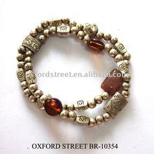 multi antiqued bead bracelet with metallic looking