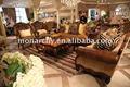 V059a-2 monarquia mão esculpida em madeira americano sofá antigo sets