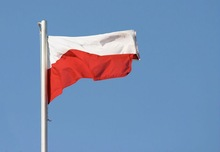European Cup 2012 Poland flag 100D polyester 110g knitted polyester ISO9001 Lower price