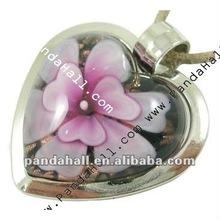 Handmade Inner Flower Heart Lampwork Bail Pendants(LAMP-X037-6)