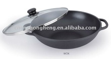 Die cast aluminium WOK with glass lid (Y-CG032)