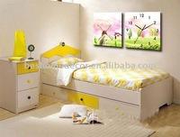 spring home decorative wall clock flower canvas art