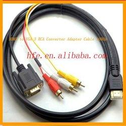 micro HDMI to VGA 3 RCA Converter Adapter Cable 1080p