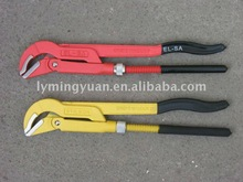 Forged 45' bent nose pipe wrench with dipped handle